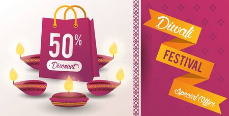 Diwali Festival Indian Offer Design with candles and shopping bag, vector illustration