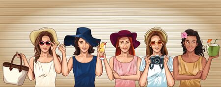 Pop art women with fashion clothes and accesories cartoons on wooden background ,vector illustration.
