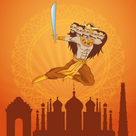 Happy Dussehra Festival of India with Ravana over city background, vector illustration