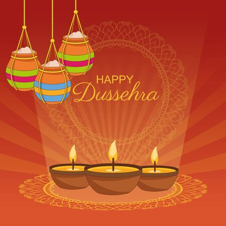 Happy Dussehra Festival of India with offering symbols, vector illustration Illustration