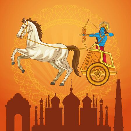 Happy Dussehra Festival of India with Lord Rama over a chariot, vector illustration