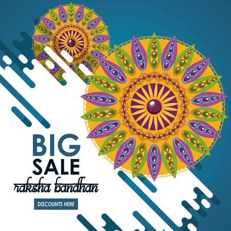 raksha bandhan big sale and discounts advertising poster with indian mandala emblems vector illustration graphic design