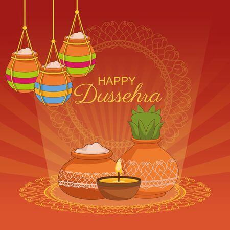 Happy Dussehra Festival of India with offering symbol, vector illustration Illustration