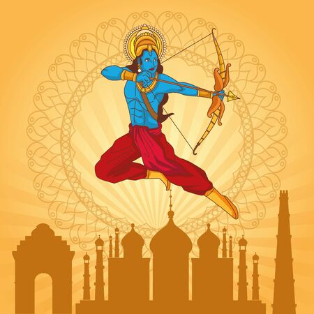 Happy Dussehra Festival of India with Lord Rama over city background,, vector illustration Illustration