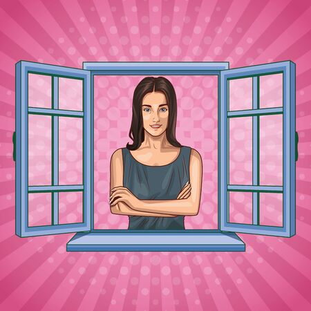 Pop art beautiful woman smiling with casual clothes cartoon looking from the window on pink background ,vector illustration graphic design.
