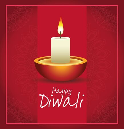 Happy Diwali Indian Celebration Design with candle, vector illustration