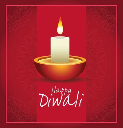 Happy Diwali Indian Celebration Design with candle, vector illustration