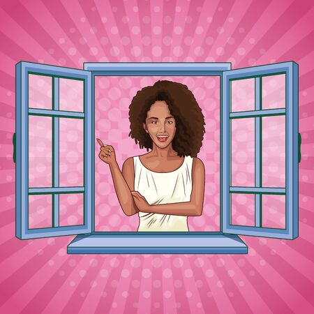 Pop art beautiful afroamerican woman smiling cartoon looking from the window on pink background ,vector illustration graphic design.