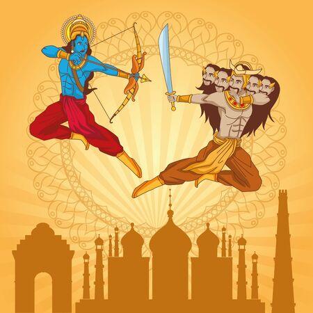 Happy Dussehra Festival of India with Lord Rama killing Ravana, vector illustration