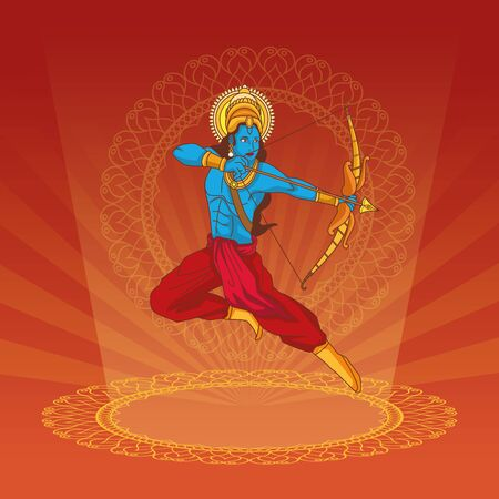 Happy Dussehra Festival of India with Lord Rama, vector illustration Illustration