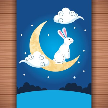 mid autumn chinese festival cute rabbit with half moon and stars at night cartoon vector illustration graphic design