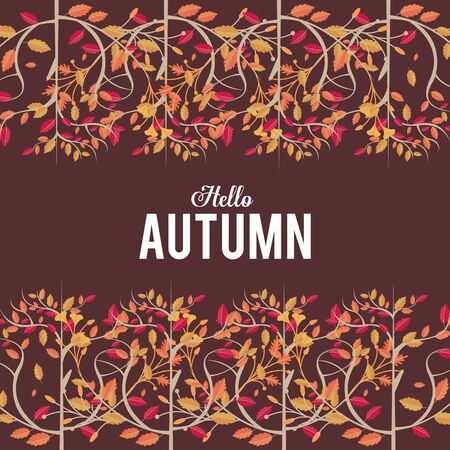 Hello autumn card with leaves cartoons, season frame and nature poster vector illustration graphic design.