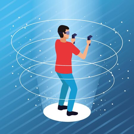 Couple playing with virtual reality glasses on blue background with 3d geomtric shapes vector illustration graphic design