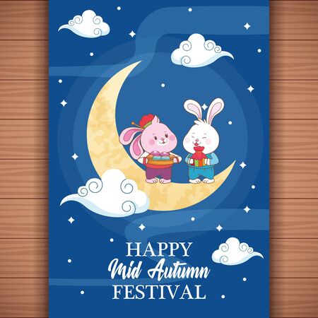 mid autumn chinese festival happy rabbits in front half moon, card with chinese translate cartoon vector illustration graphic design