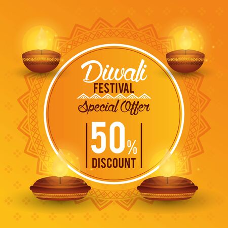 Diwali Festival Indian Offer Design with candles and discount seal, vector illustration