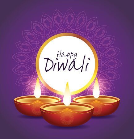 Happy Diwali Indian Celebration Design with candles, vector illustration