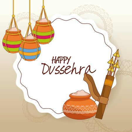 Happy Dussehra Festival of India with offering symbols and arrow of Lord Rama, vector illustration