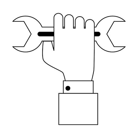 hand holding wrench icon cartoon vector illustration graphic design 向量圖像