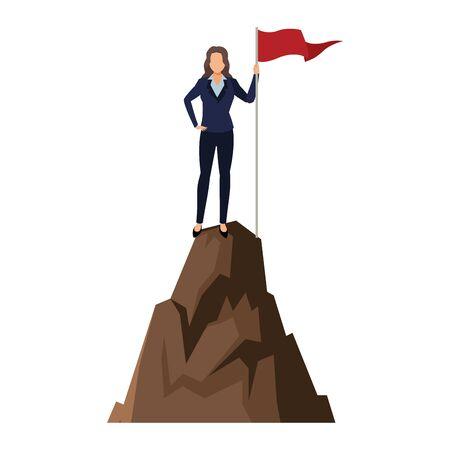 executive business woman over mountain peak cartoon vector illustration graphic design