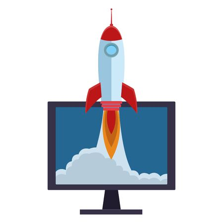 rocket taking off inside computer screen cartoon vector illustration graphic design