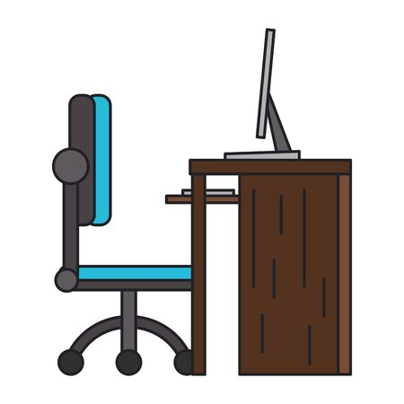 Desk computer with chair office cartoon isolated vector illustration graphic design Stock Illustratie