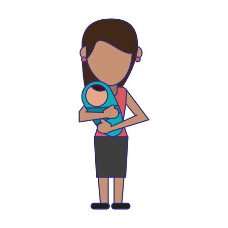 single mom with baby in arms faceless avatar vector illustration graphic design