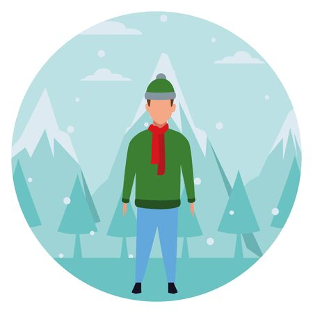 boy wearing winter clothes with knitted cap and scarf snow mountain lanscape round icon vector illustration graphic design