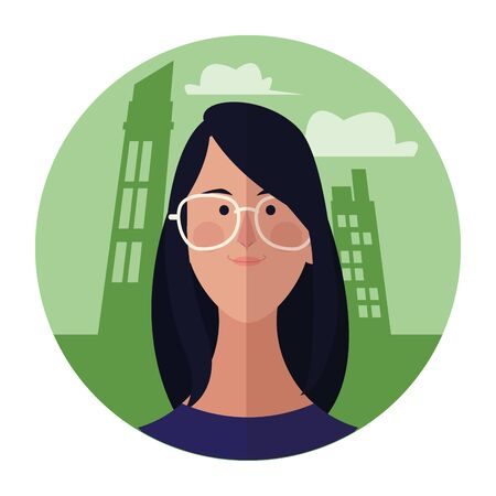 Woman with glasses face cartoon profile over cityscape building round icon vector illustration graphic design