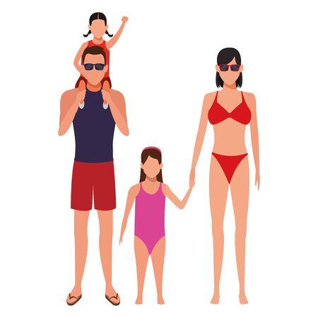 family avatar cartoon character wearing summer clothes swimwear sunglasses vector illustration graphic design