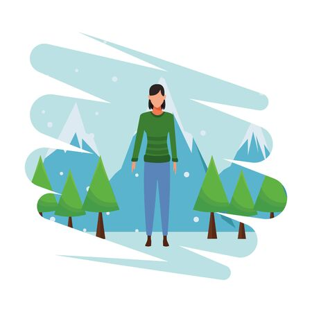 woman wearing sweater cartoon avatar character snow mountain lanscape vector illustration graphic design Çizim
