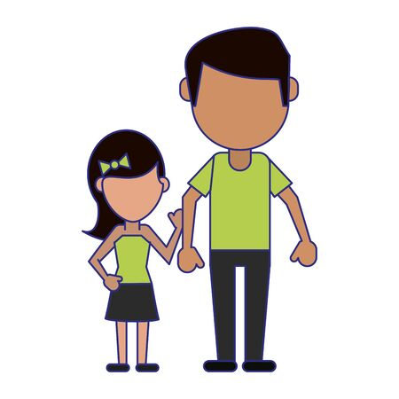 Family father and daughter avatar faceless cartoon vector illustration graphic design Çizim
