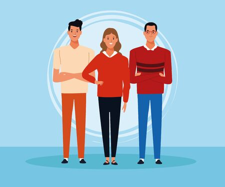 Young people over blue background vector illustration graphic design Archivio Fotografico - 130818814