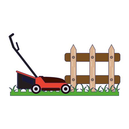 Gardening plants and tools mower and fence on grass 일러스트