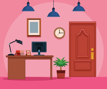 Business office workplace furniture interior vector illustration graphic design 스톡 콘텐츠 - 130819433