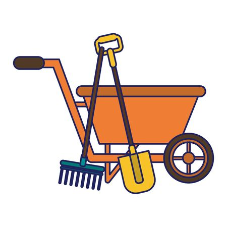 Gardening plants and tools wheelbarrow and shovel with rake