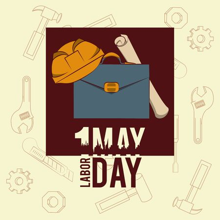 Labor day may eleven card briefcase and helmet with plans vector illustration graphic design