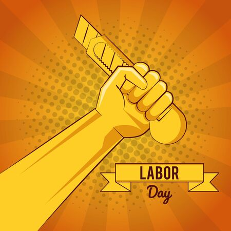 Happy labour day card with tools yellow striped background vector illustration graphic design Ilustração