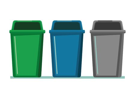 three garbage can icon cartoon vector illustration graphic design