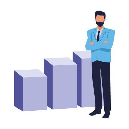 Executive businessman with profit statistics bars ,vector illustration graphic design.