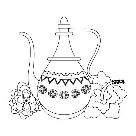 indian traditional teapot with lotus flower icon cartoon vector illustration graphic design