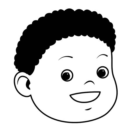 Cute little afroamerican boy smiling face ,vector illustration graphic design.