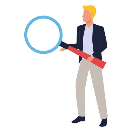 Executive businessman holding magnifying glass ,vector illustration graphic design.