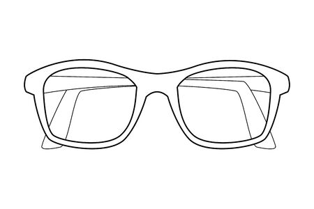 glasses design icon cartoon isolated in black and white vector illustration graphic design