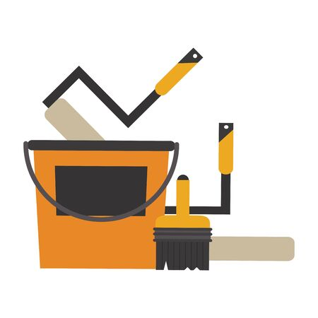 Construction tools paint bucket and rolling pins with brush vector illustration graphic design