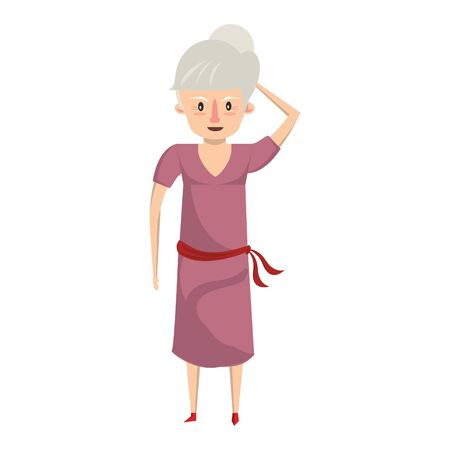 grandparent senior old retirement grandmother cartoon vector illustration graphic design