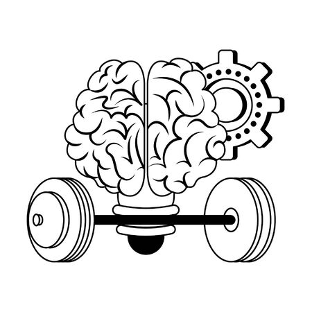 Brain bulb light shape with gear and weights vector illustration graphic design