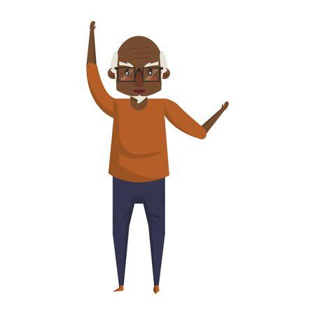 grandparent senior old retirement afro grandfather wearing glasses cartoon vector illustration graphic design