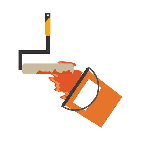 Construction tools paint rolling pin and bucket vector illustration graphic design Çizim