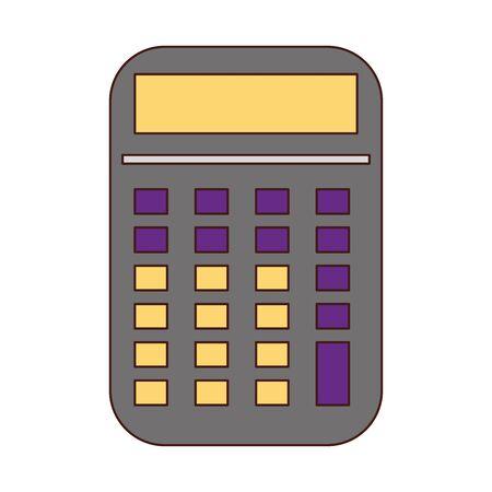Appareil mathématique calculatrice isolé cartoon vector illustration graphic design