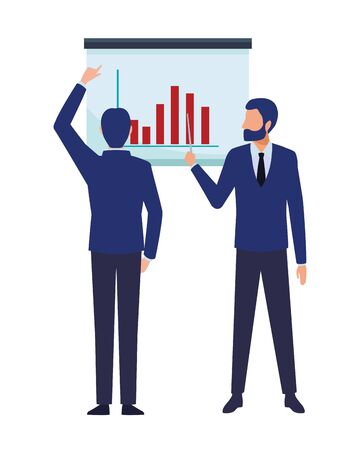 business business people businessman wearing beard and using a wand pointing out a data chart and businessman back view